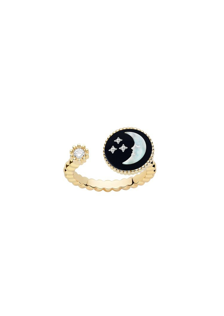 Rose Celeste 月亮黃K金戒指,黃K金與白K金鑲嵌鑽石、珍珠母貝、縞瑪...