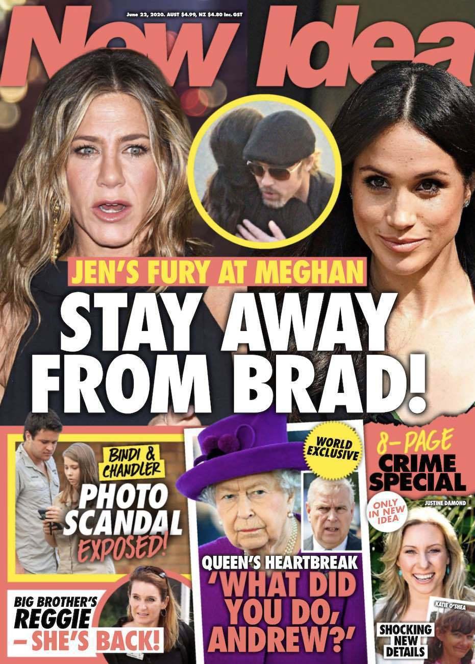 八卦雜誌竟以封面報導珍妮佛安妮絲頓(左)對梅根心有顧忌,看她很不順眼。圖/摘自N...