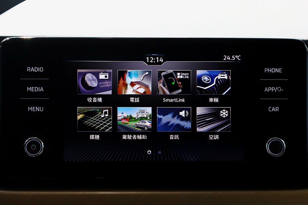 懸浮式新世代MIB 8吋觸控螢幕,視覺與觸覺都擁有最佳質感。 記者張振群/攝影