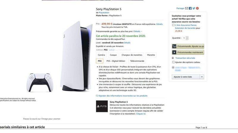 外國網友在法國亞馬遜網站上看到PS5銷售頁面,內有標示價格和出售日期。圖擷自Twitter