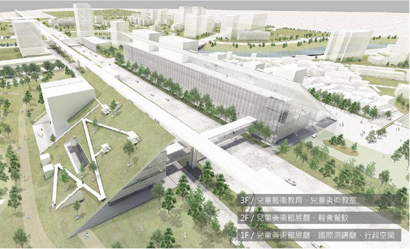 兒童美術館將以空中廊道與市立美術館連結。圖/桃園市府提供