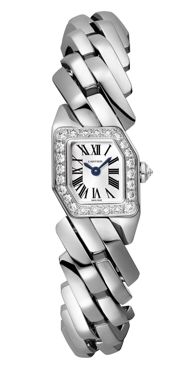 Maillon de Cartier腕表白金鑲鑽款,約103萬元。圖/卡地亞提供