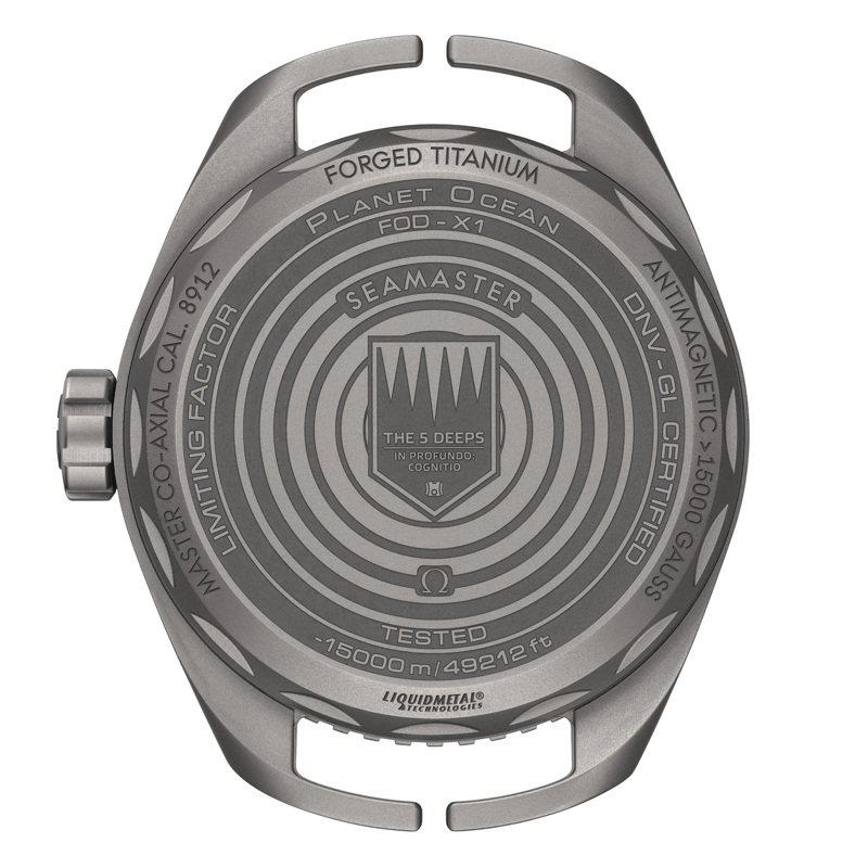 包含表款、型號、材質、與水下15,000米的字樣,皆以雷射刻於封閉式的後底蓋。圖/ OMEGA提供。
