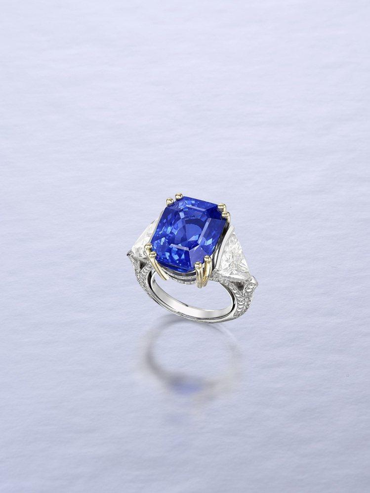 20.05克拉天然無經加熱處理緬甸藍寶石配鑽石戒指,La Serlas(出自一歐...
