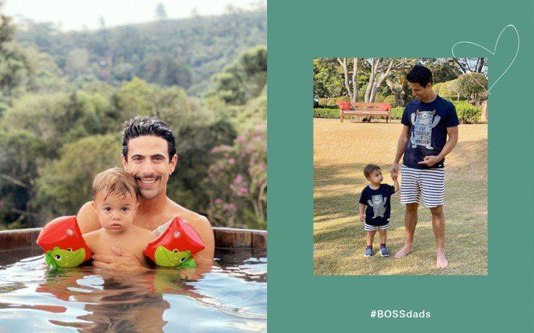 巴西職業賽車手的Lucas Di Grassi與兒子一同在泳池入鏡,或換上親子裝...