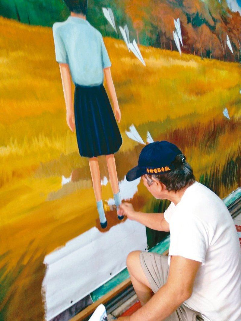 「返校」展覽邀請國寶大師謝森山,手繪寬七米的大看版。圖/聯合數位文創提供