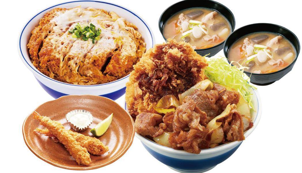 雙饗B套餐,7、8月限定販售,燒醬洋蔥牛五花雞排丼+吉豚豬排丼(竹)+豬肉味噌湯...