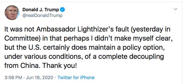 美國總統川普18日透過推特表示,仍保留與中國大陸完全脫鉤的政策選項。取自川普推特