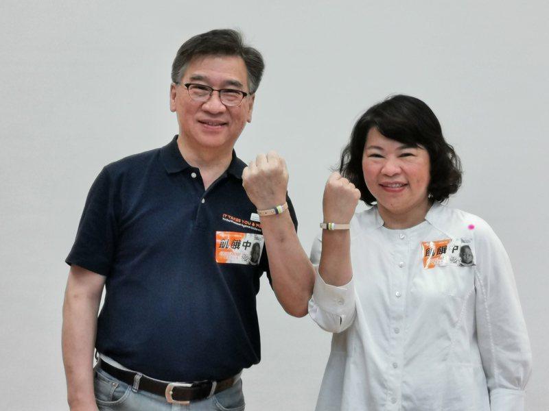 黃敏惠(右)和王偉華共同戴上 飢餓手環。記者卜敏正/攝影