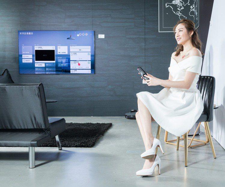 LG ThinQ HOME智慧家庭體驗展的「黑科技生活」家庭客廳情境區,進入電視...