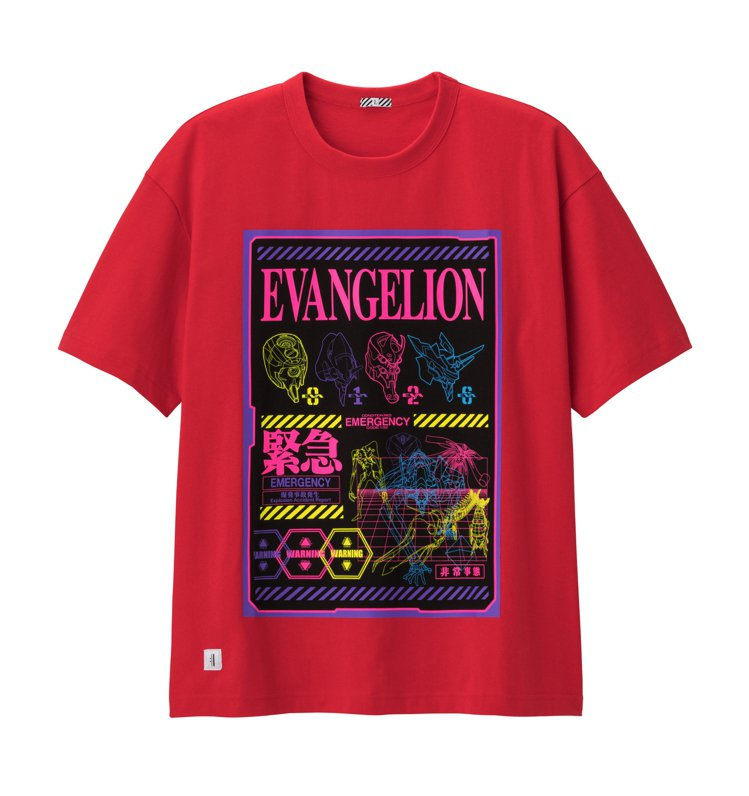 GU與EVANGELION新世紀福音戰士聯名系列寬版T恤590元。圖/GU提供