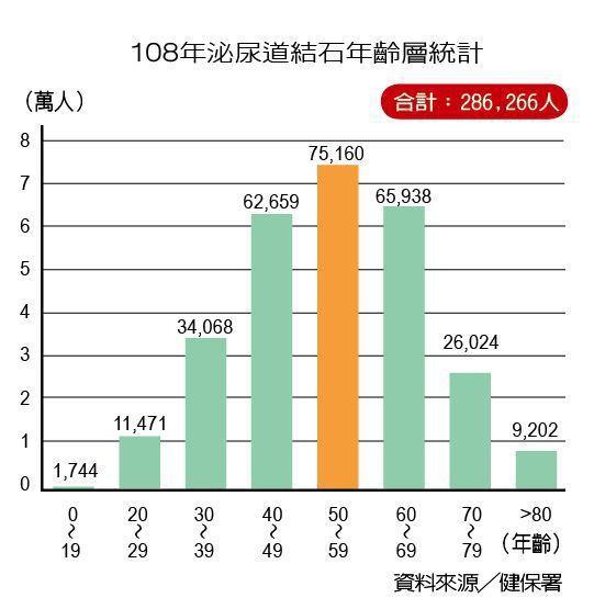 108年泌尿道結石年齡層統計 製表/元氣周報