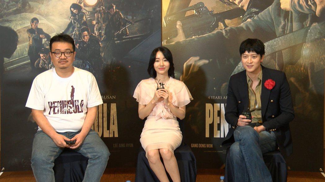 左起導演延尚昊、女主角李貞賢、男主角姜棟元接受台灣媒體訪問。圖/車庫娛樂提供
