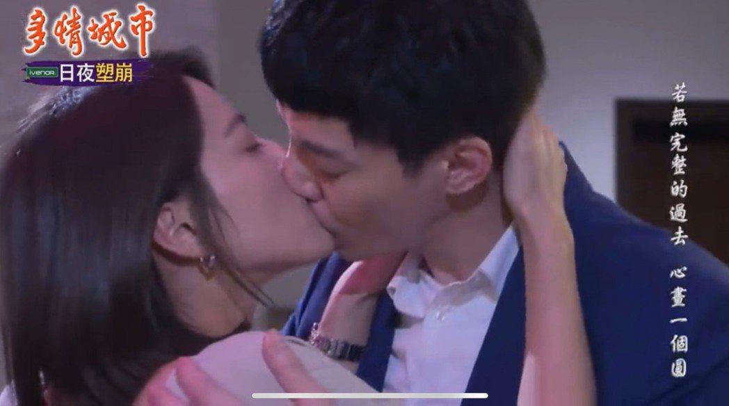 蘇晏霈(左)、王凱在「多情城市」中吻得激烈。圖/翻攝youtube