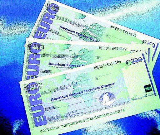 美國運通旅行支票。報系資料照