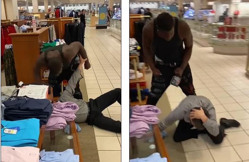 黑人顧客對白人店員施暴。圖取自youtube