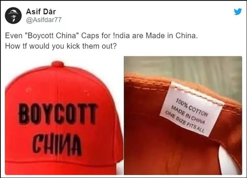 寫有「抵制中國」的帽子被發現實際上是中國製造。(環球時報)