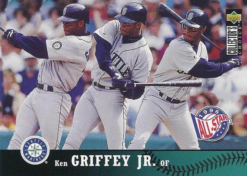 小葛瑞菲打擊姿勢扭腰輕快、揮棒流暢,常常能看到精準擊中球心後以優美的弧度飛出,讓球迷感受到力量的完美釋放。 1997 Upper Deck 球員卡