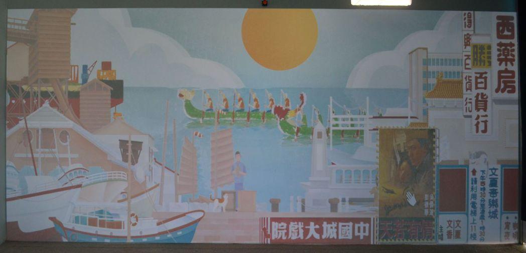 河樂廣場展出的時光如河-互動投影。  陳慧明 攝影