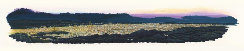 「台北上河圖」中的台北夜景鳥瞰圖,將夜晚的台北畫得光彩迷人。圖/姚任祥提供
