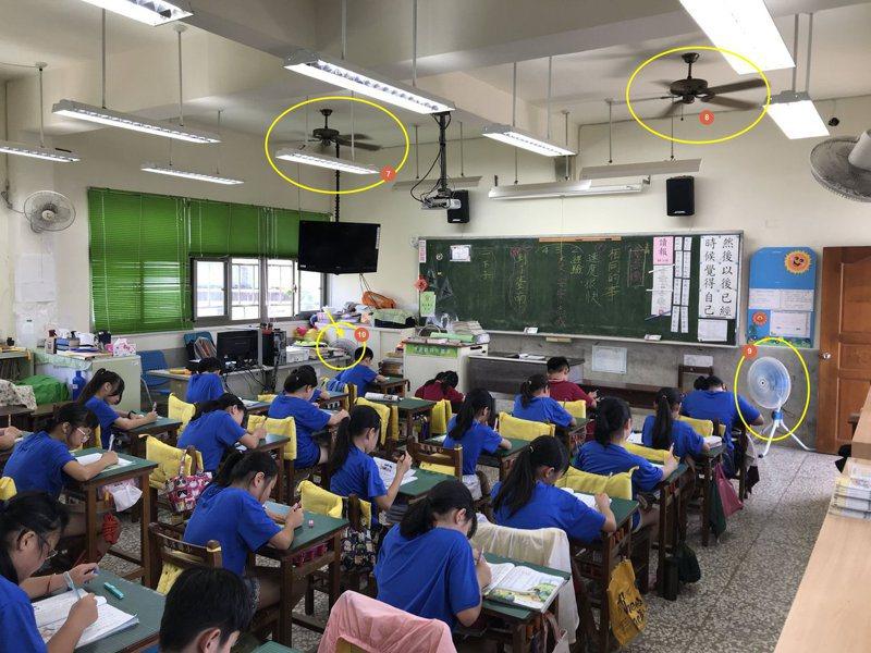 在室溫34度的教室,宜蘭礁溪龍潭國小老師廖世凱在教室裝了十支大小風扇。圖/廖世凱提供