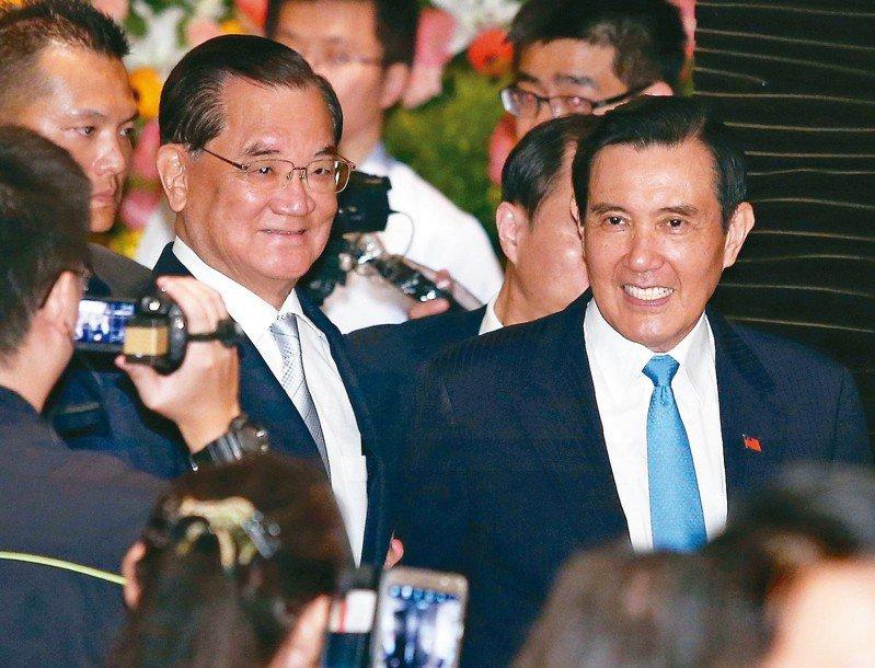 前副總統連戰(左)與前總統馬英九(右)。本報資料照片