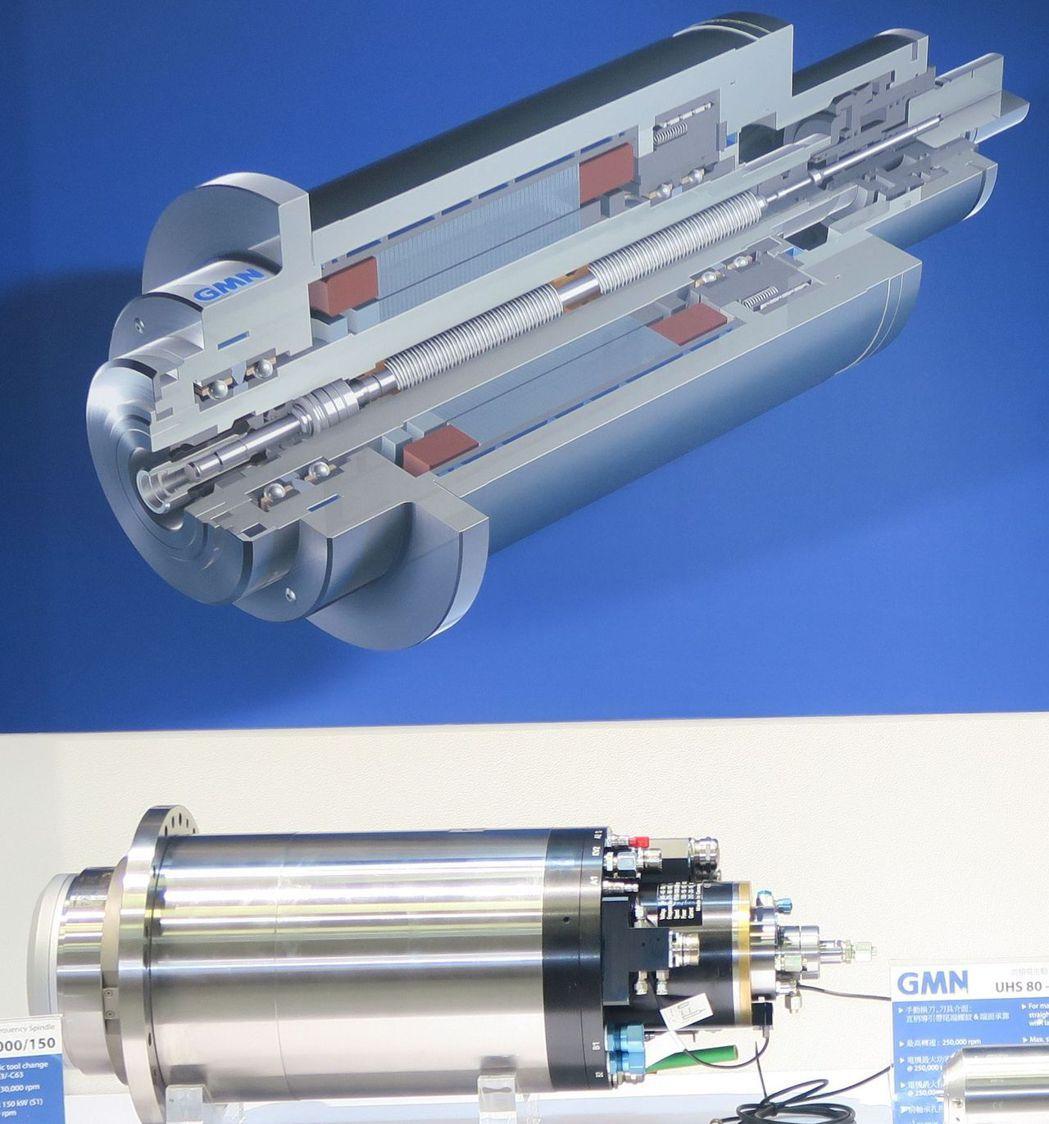 輝遠公司推出高精密高速主軸、軸承。陳華焜/攝影
