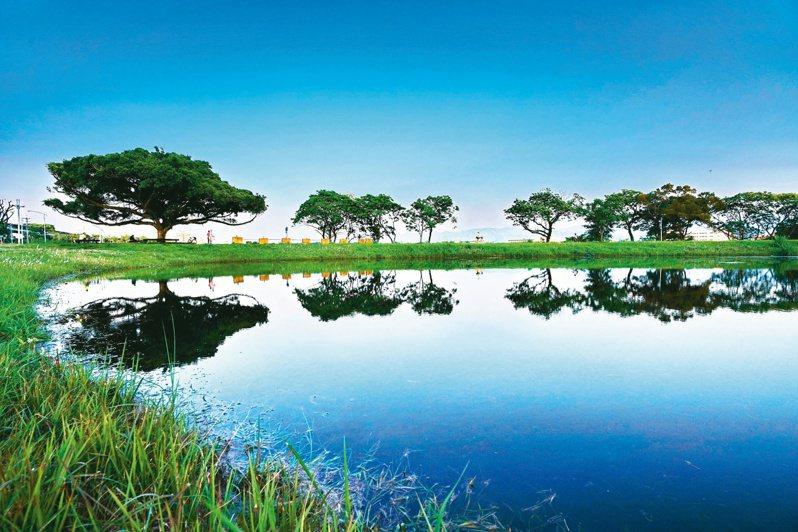 新北樹林區館前路環保公園旁的「沐心池」。 圖/新北市高管處提供