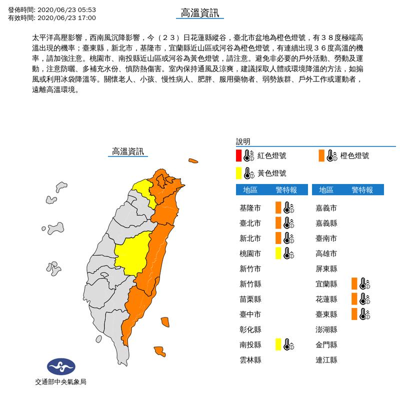 中央氣象局針對8縣市發布高溫資訊,其中花蓮縣縱谷、台北市盆地有攝氏38度極端高溫出現的機率。 圖擷自中央氣象局