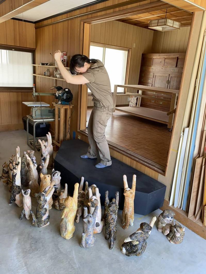 日本有雕刻家以木雕創作了「貓群追星」的壯觀畫面。圖擷自Twitter@hanafusa_sakura