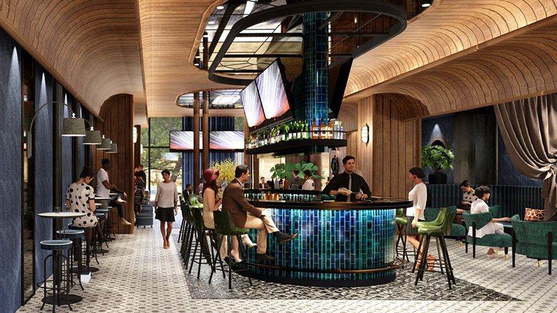 海洋主題風格強烈的Blu BAR,空間設計為船艙造型。 和逸飯店桃園館/提供