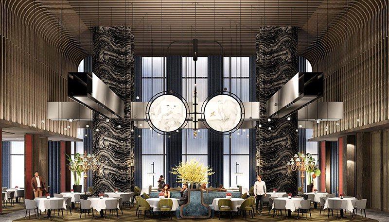 「逸薈軒」挑高10米,新東方的設計風格,納入絹綢屏風及中國風吊扇。 和逸飯店桃園...