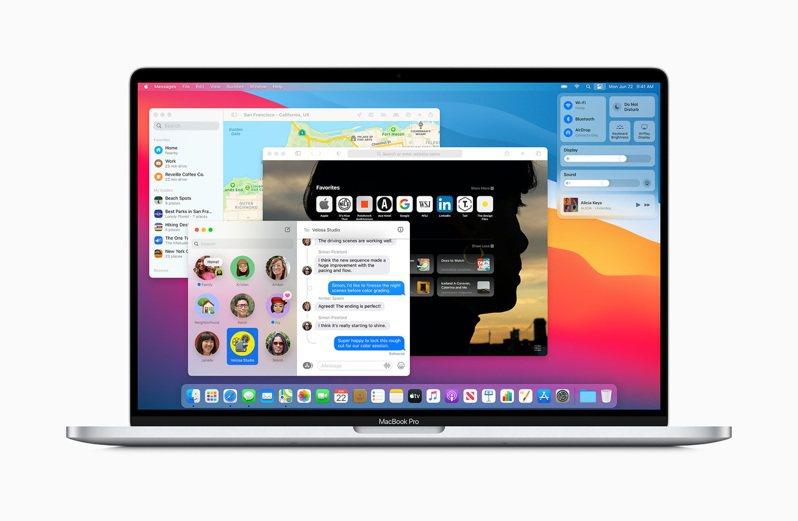 全新macOS Big Sur,幾乎重新設計了所有App與功能列的顯示方式。圖/蘋果提供