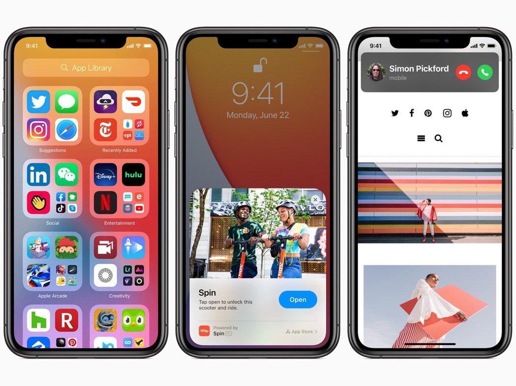 iOS 14全新的App Library、App Clips與來電顯示。圖/蘋果...