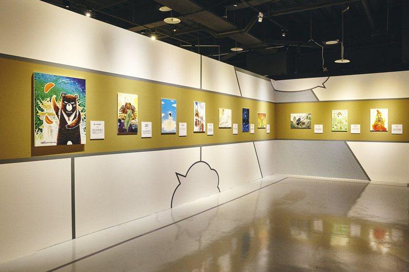 「祈願‧台灣」展區,展出37位台灣老中青三代知名漫畫家、插畫家作品。圖/世界宗教博物館提供