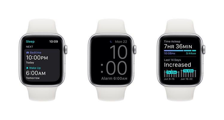 用戶可設定睡眠時間⽬標以達到所需的睡眠量,在「睡眠模式」下Apple Watch...