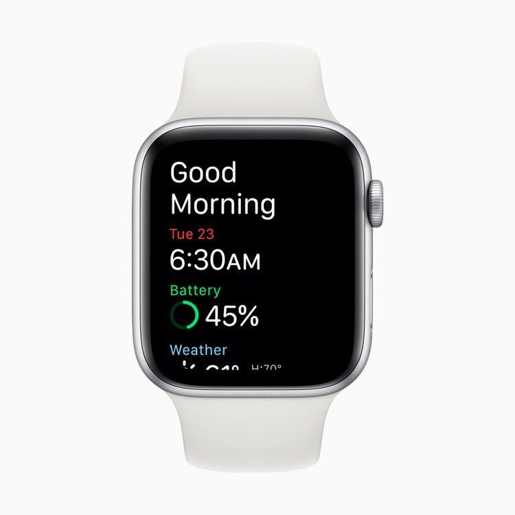 喚醒畫⾯會主動顯⽰當下的電池電量和天氣資訊。圖/蘋果提供