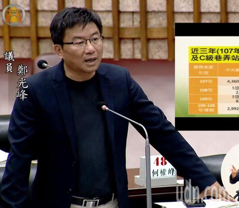 民進黨籍高雄市議員鄭光峰向民進黨團登記參選補選的市議會議長。圖/翻攝高雄市議會質詢畫面
