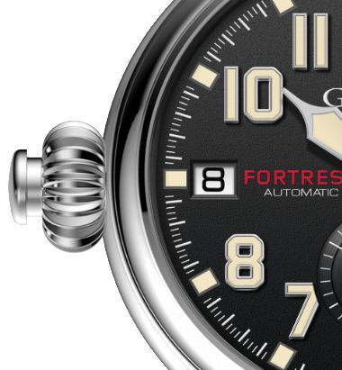 左冠形式的Graham,堡壘限量計時腕表,讓右撇子操作計時碼表功能時、更為簡單俐...