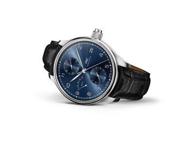 IWC,葡萄牙系列手上鍊單按鈕計時腕表「勞倫斯體育公益基金會」特別版,藍色表面搭...