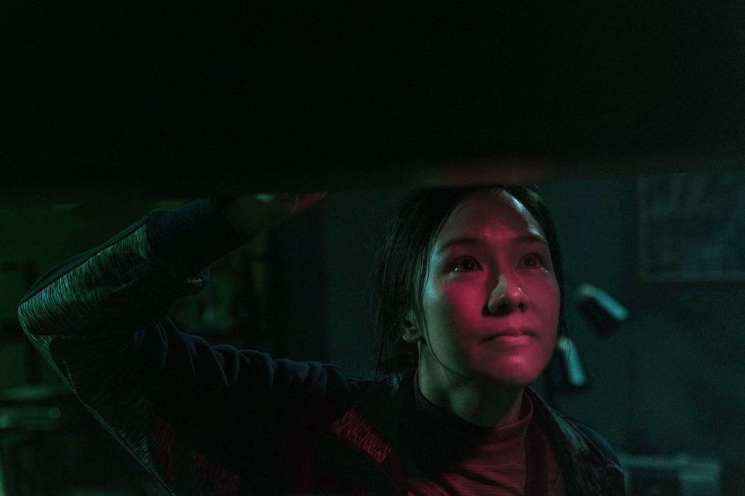 林嘉欣在戲中要犧牲美貌,演出半盲半跛的中年婦女。圖/華映提供