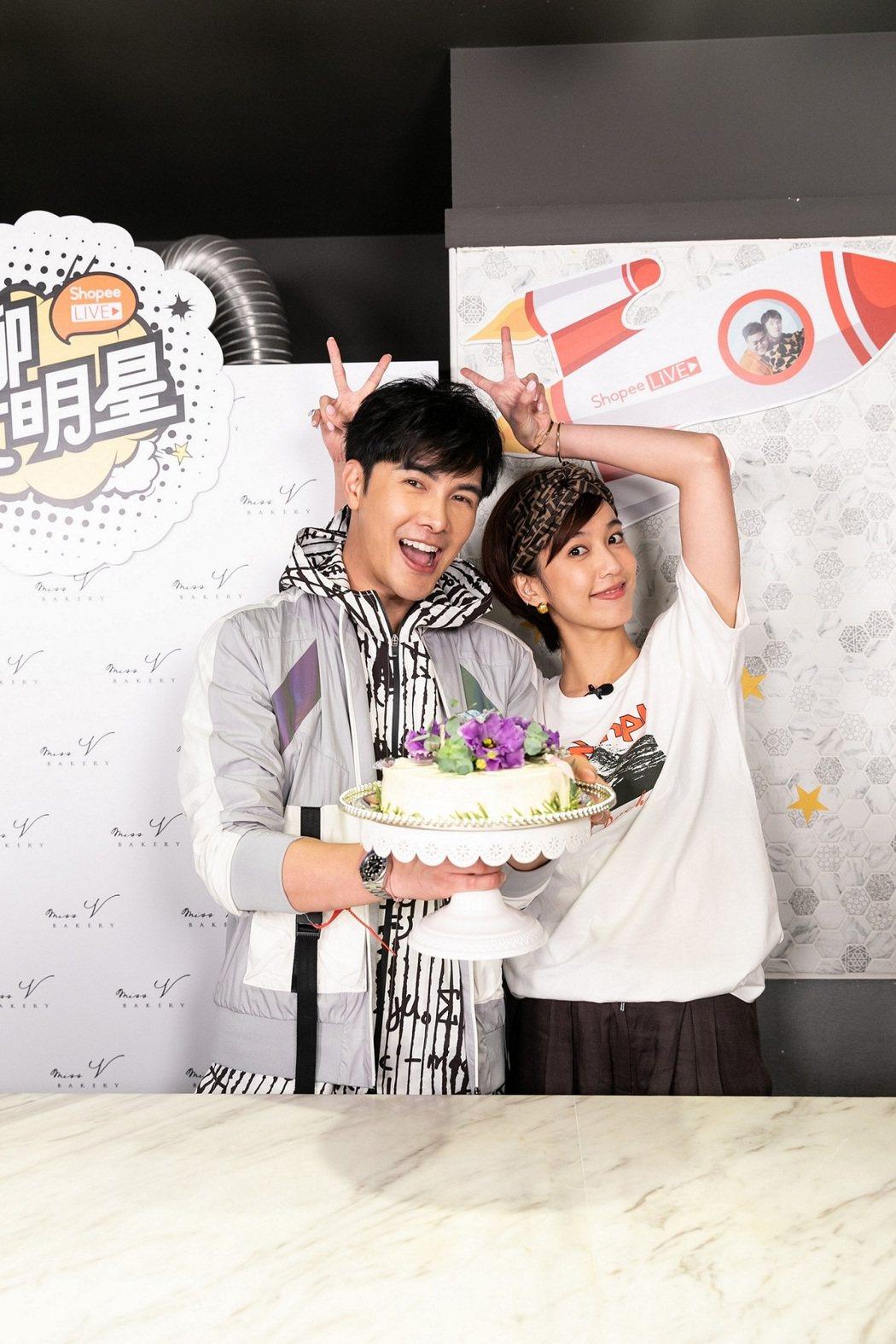 謝佳見線上慶生會,陳庭妮手捧蛋糕現身直播。圖/藝和創藝提供