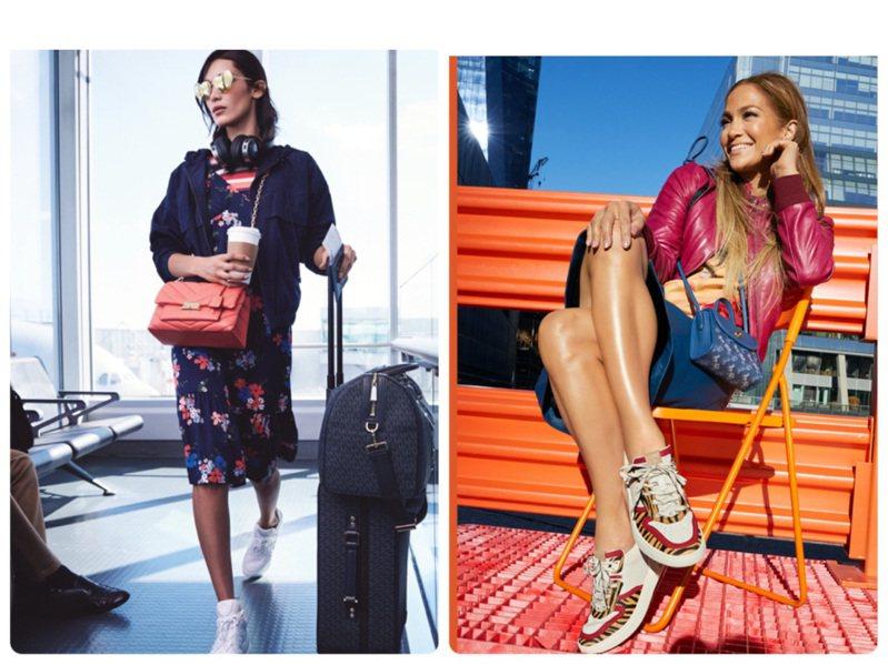 貝拉哈蒂德和珍妮佛羅貝茲分別詮釋MICHAEL KORS和COACH新款運動鞋。圖/MICHAEL KORS、COACH提供