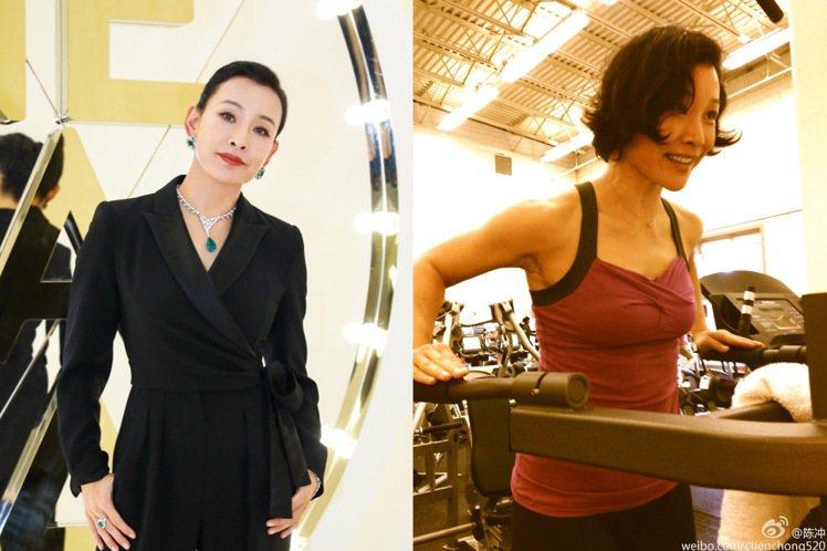 59歲的陳沖,對身材依舊很要求。圖/摘自微博