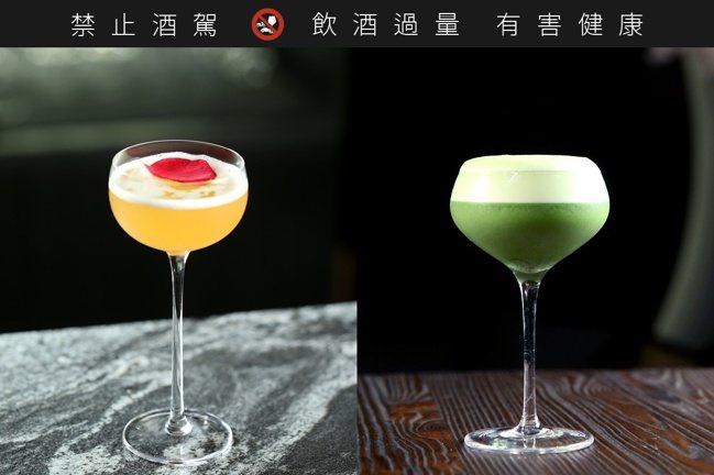 「碧隱引蜂」(右)和「山香花露」(左)是店內推薦兩杯特調,前者以類似卡布奇諾的奶...