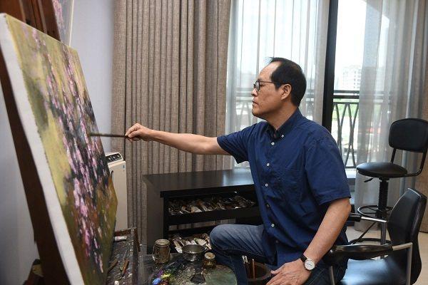 蘇憲法教授現場作畫。 國父紀念館/提供