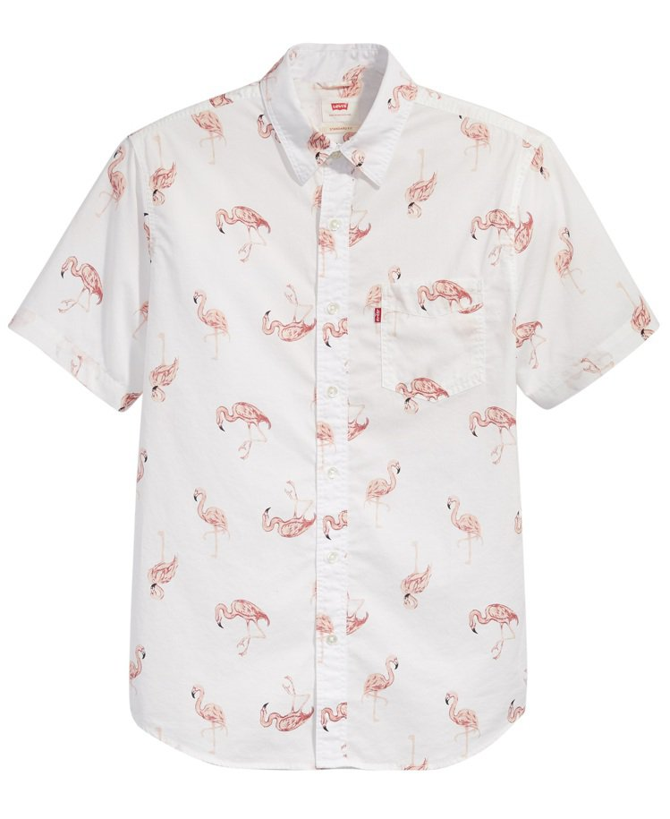 LEVI'S紅鶴印花短袖襯衫2,090元。圖/LEVI'S提供