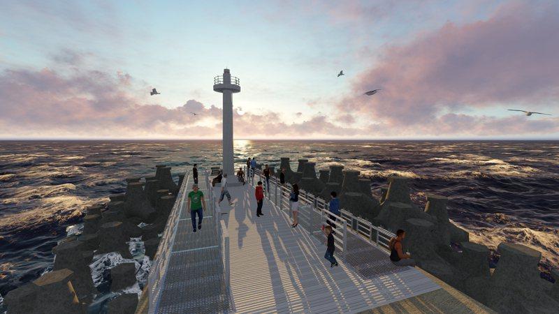 新竹漁港南側周邊海岸環境改善工程今天開工,釣魚平台將增設樓梯及強化安全護欄等設備,讓釣客更方便安全。示意圖/市府提供
