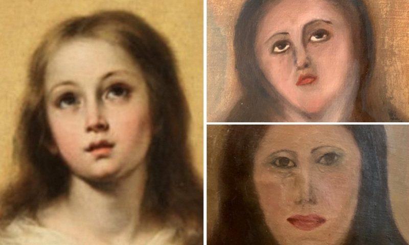 西班牙瓦倫西亞一位私人藝術收藏家請傢具修繕商清潔「聖母無染原罪」複製畫(左),結果是一次修繕毀容(右上),二次修繕水準直接下降成小學生的美術作品(右下)。畫面翻攝:Twitter/AhabLives