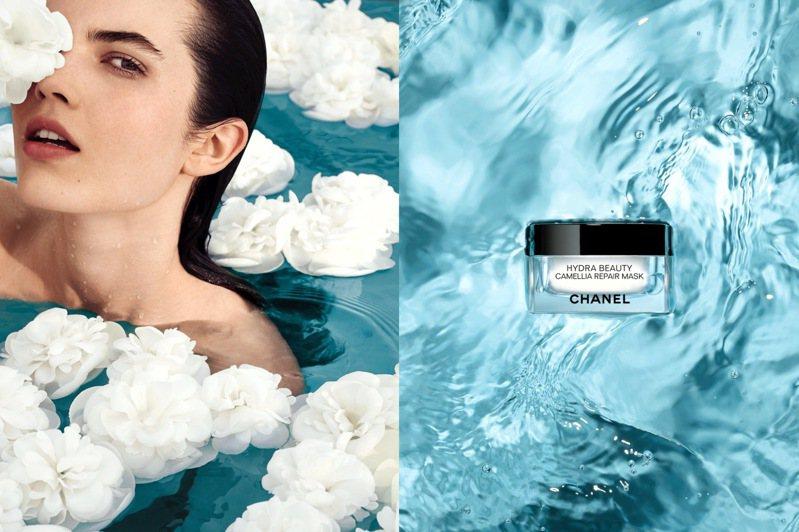 為肌膚急救保濕,香奈兒推出全新山茶花精萃修護面膜。圖/香奈兒提供